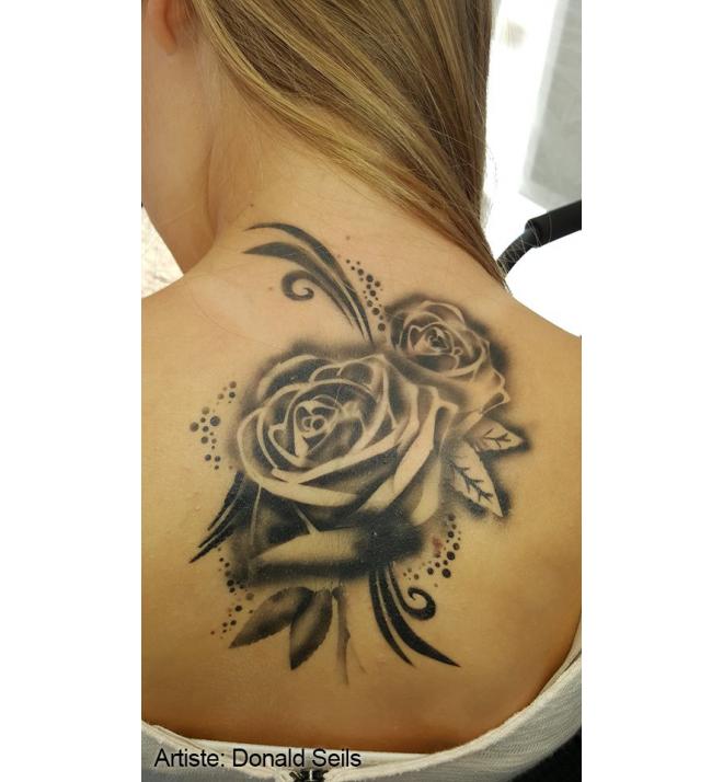 Roses Scrolls Tattoo Pro